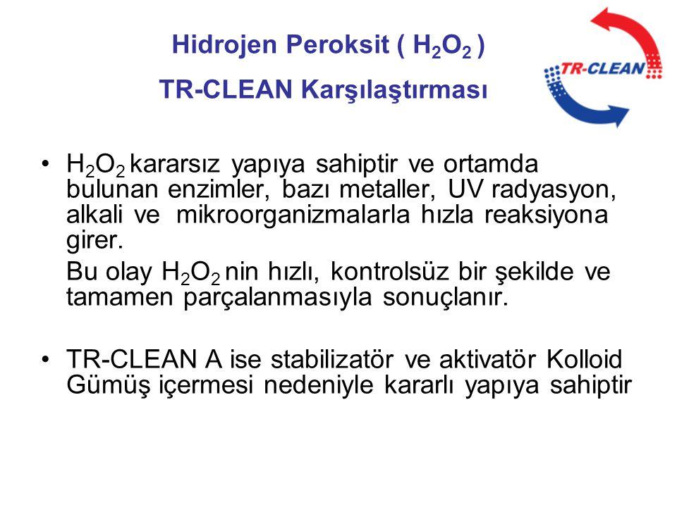 Hidrojen Peroksit ( H 2 O 2 ) TR-CLEAN Karşılaştırması •H 2 O 2 kararsız yapıya sahiptir ve ortamda bulunan enzimler, bazı metaller, UV radyasyon, alk