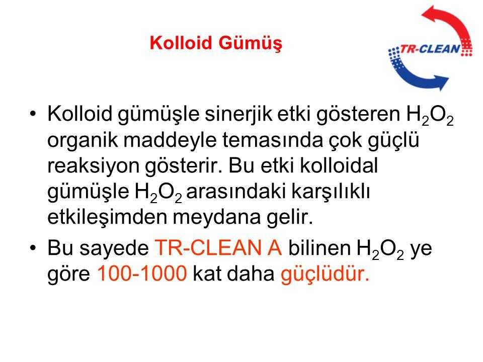 •Kolloid gümüşle sinerjik etki gösteren H 2 O 2 organik maddeyle temasında çok güçlü reaksiyon gösterir. Bu etki kolloidal gümüşle H 2 O 2 arasındaki