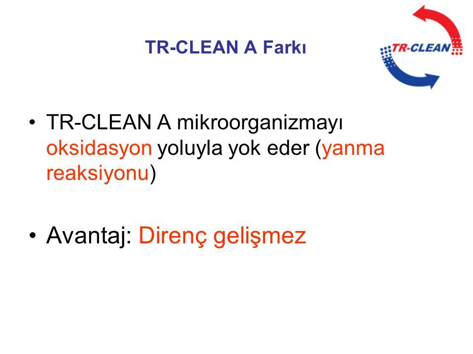 TR-CLEAN A Farkı •TR-CLEAN A mikroorganizmayı oksidasyon yoluyla yok eder (yanma reaksiyonu) •Avantaj: Direnç gelişmez