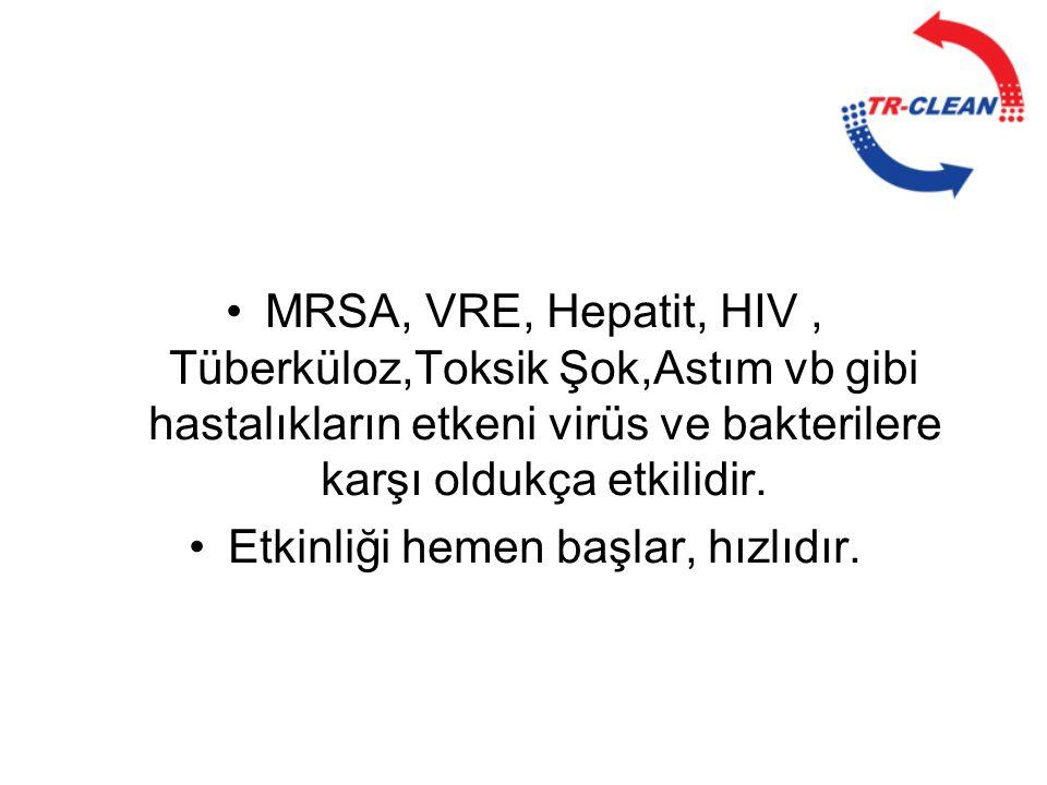 •MRSA, VRE, Hepatit, HIV, Tüberküloz,Toksik Şok,Astım vb gibi hastalıkların etkeni virüs ve bakterilere karşı oldukça etkilidir. •Etkinliği hemen başl
