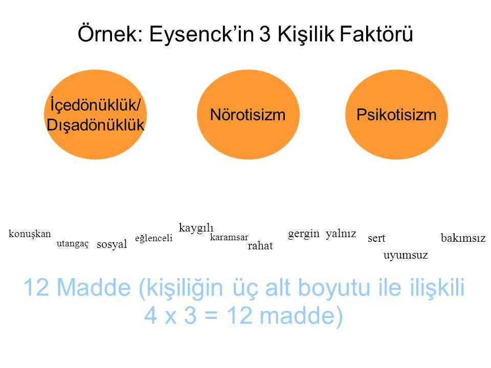 Örnek: Eysenck'in 3 Kişilik Faktörü İçedönüklük/ Dışadönüklük NörotisizmPsikotisizm konuşkan utangaç sosyal eğlenceli kaygılı karamsar rahat gergin uyumsuz bakımsız sert yalnız 12 Madde (kişiliğin üç alt boyutu ile ilişkili 4 x 3 = 12 madde)