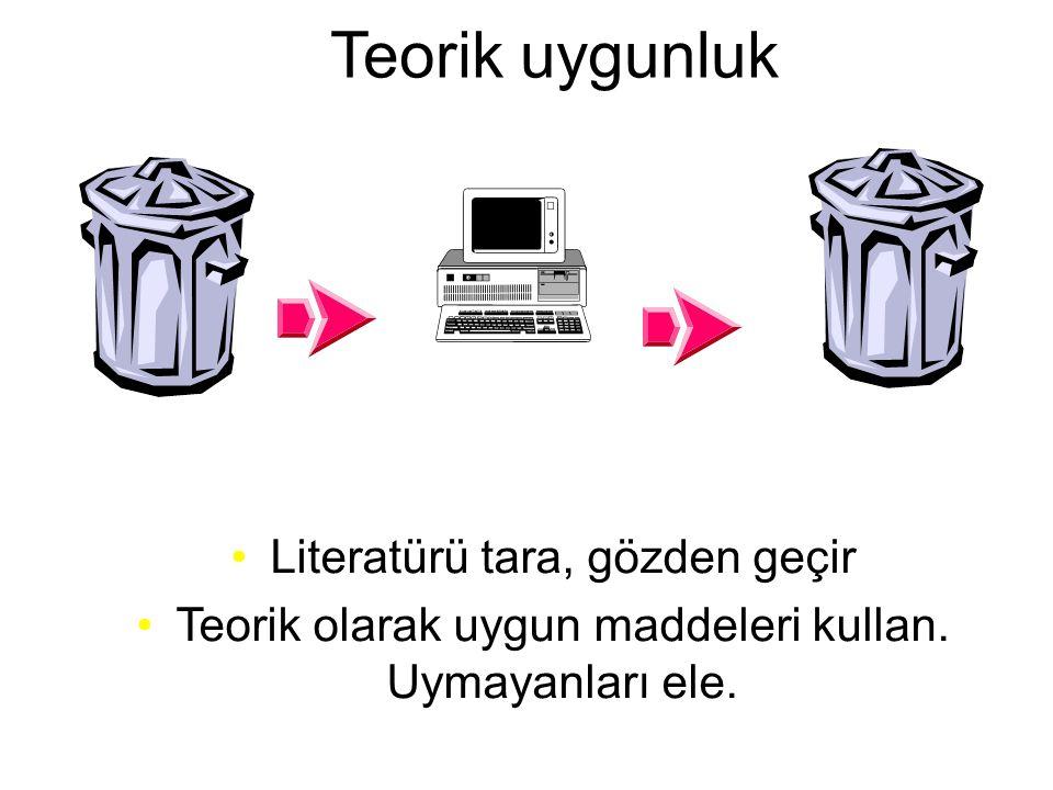 Teorik uygunluk •Literatürü tara, gözden geçir •Teorik olarak uygun maddeleri kullan. Uymayanları ele.