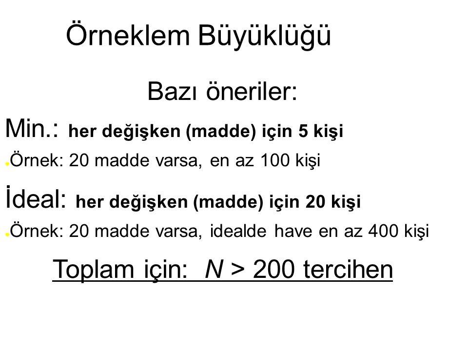 Örneklem Büyüklüğü Bazı öneriler: Min.: her değişken (madde) için 5 kişi ● Örnek: 20 madde varsa, en az 100 kişi İdeal: her değişken (madde) için 20 k