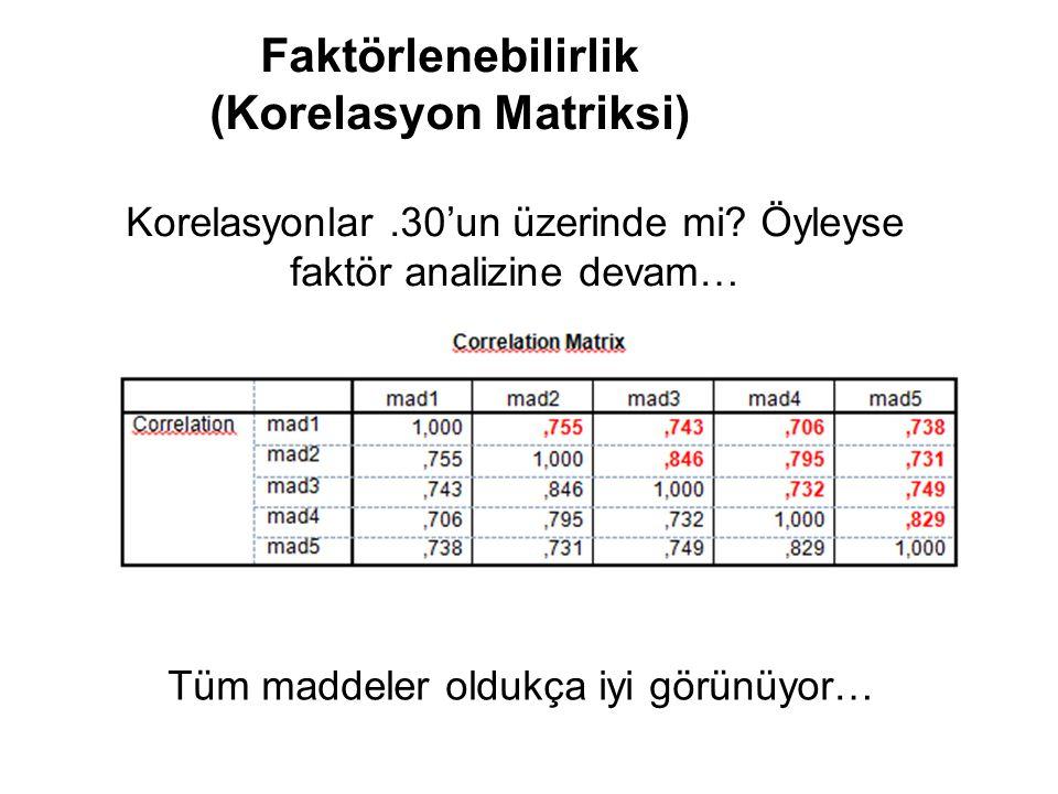 30 Faktörlenebilirlik (Korelasyon Matriksi) Korelasyonlar.30'un üzerinde mi.
