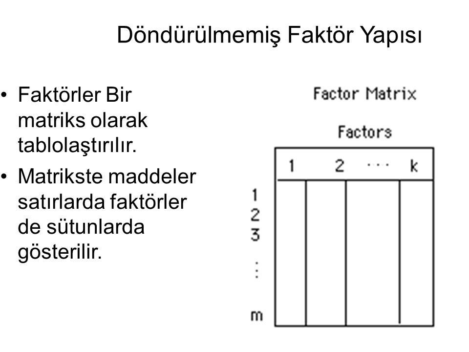 •Faktörler Bir matriks olarak tablolaştırılır. •Matrikste maddeler satırlarda faktörler de sütunlarda gösterilir.