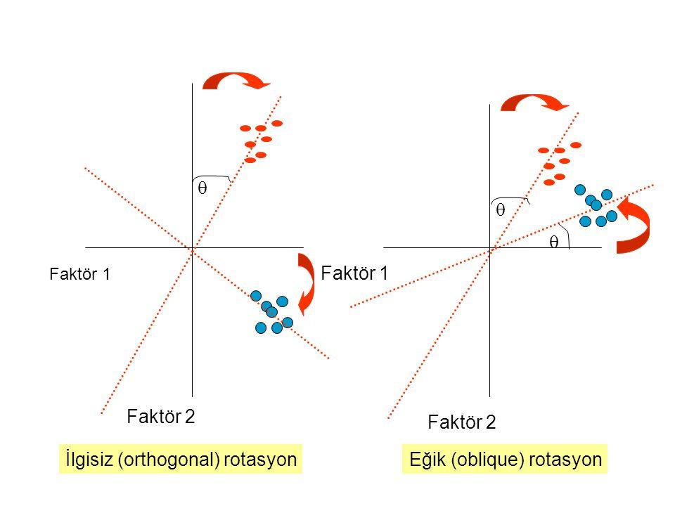 Faktör 1 Faktör 2 Faktör 1 Faktör 2  İlgisiz (orthogonal) rotasyon   Eğik (oblique) rotasyon