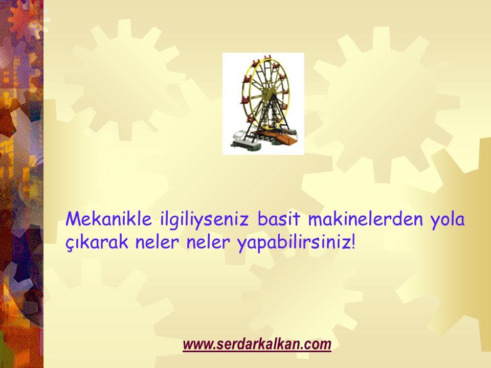 Mekanikle ilgiliyseniz basit makinelerden yola çıkarak neler neler yapabilirsiniz! www.serdarkalkan.com