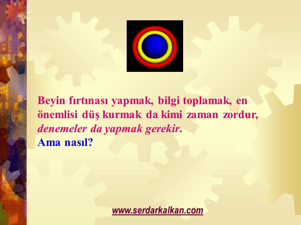 Beyin fırtınası yapmak, bilgi toplamak, en önemlisi düş kurmak da kimi zaman zordur, denemeler da yapmak gerekir. Ama nasıl? www.serdarkalkan.com