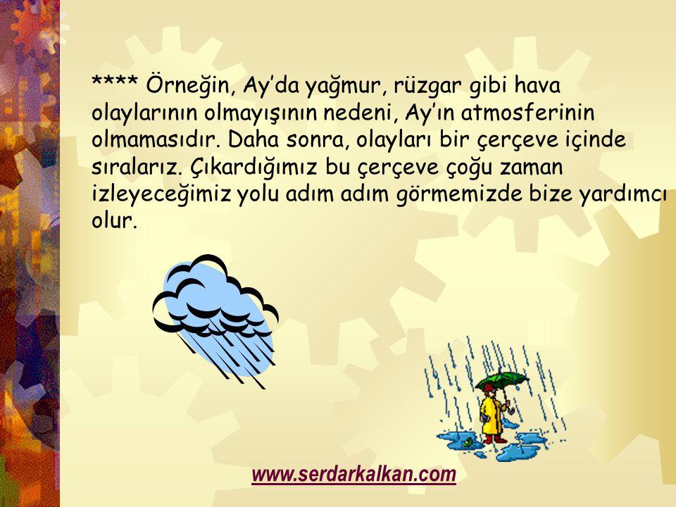 **** Örneğin, Ay'da yağmur, rüzgar gibi hava olaylarının olmayışının nedeni, Ay'ın atmosferinin olmamasıdır. Daha sonra, olayları bir çerçeve içinde s