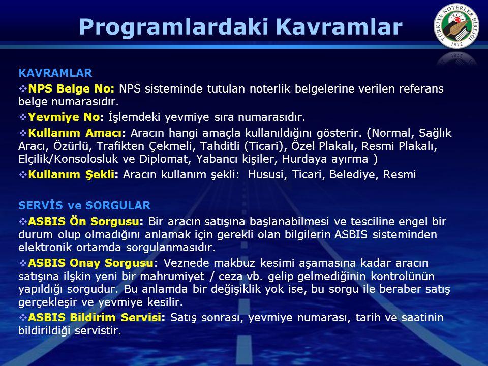 Programlardaki Kavramlar KAVRAMLAR  NPS Belge No: NPS sisteminde tutulan noterlik belgelerine verilen referans belge numarasıdır.  Yevmiye No: İşlem