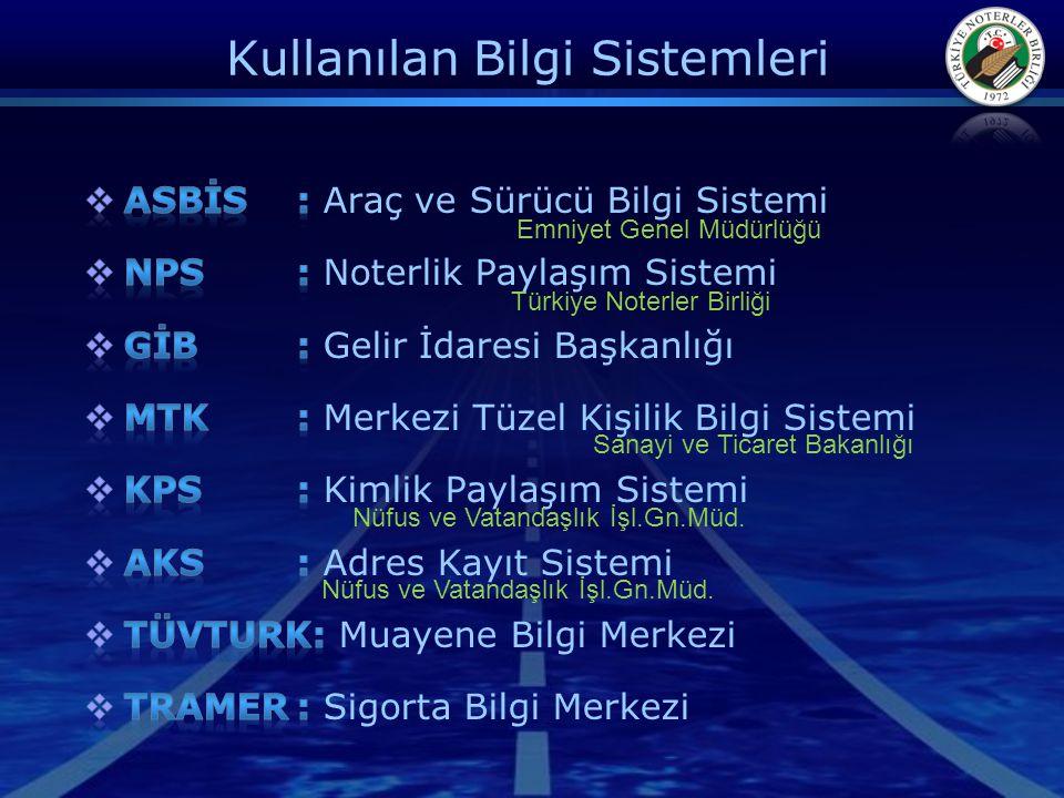 Kullanılan Bilgi Sistemleri Emniyet Genel Müdürlüğü Türkiye Noterler Birliği Sanayi ve Ticaret Bakanlığı Nüfus ve Vatandaşlık İşl.Gn.Müd.