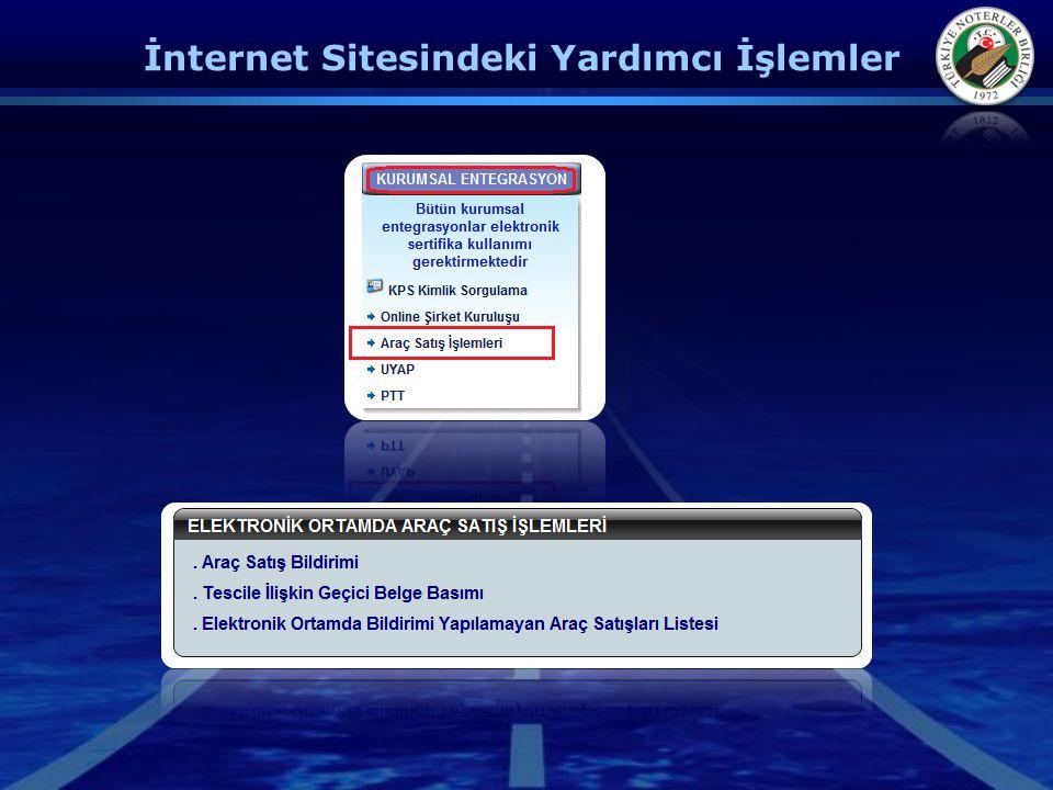 İnternet Sitesindeki Yardımcı İşlemler
