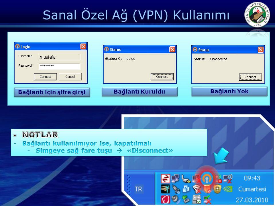 Sanal Özel Ağ (VPN) Kullanımı Bağlantı için şifre girşi Bağlantı Kuruldu Bağlantı Yok