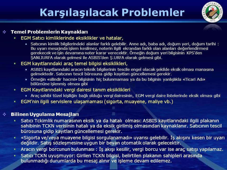 Karşılaşılacak Problemler  Temel Problemlerin Kaynakları  EGM Satıcı kimliklerinde eksiklikler ve hatalar, •Satıcının kimlik bilgilerindeki alanlar farklı gelebilir.