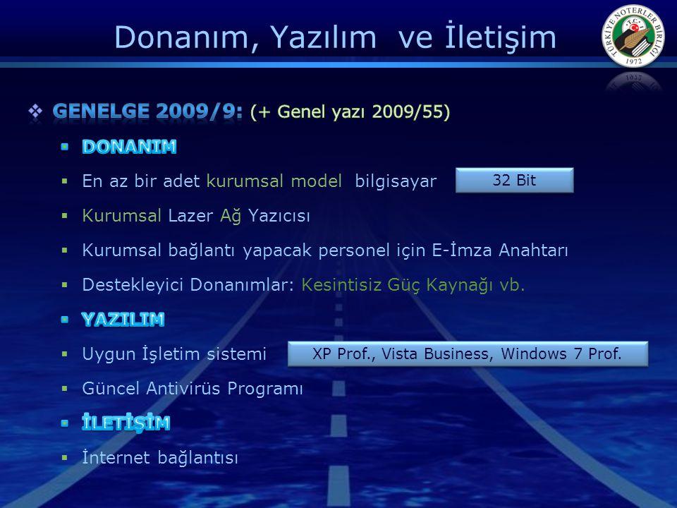 Donanım, Yazılım ve İletişim 32 Bit XP Prof., Vista Business, Windows 7 Prof.