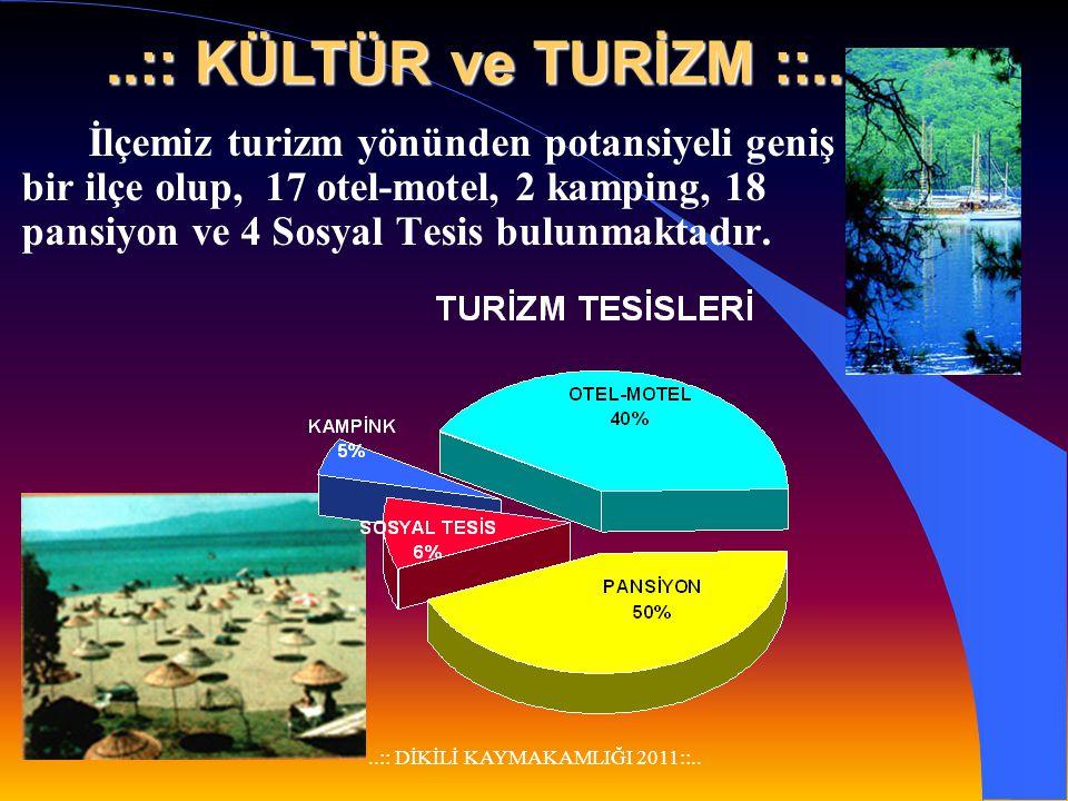 ..:: DİKİLİ KAYMAKAMLIĞI 2011::.. TARIMA DAYALI SANAYİ VE İŞLETMELER l Zeytinyağı Fabrikası: 6 Adet l Yağhane (Sulu baskı): 3 Adet l Çırçır Fabrikası: