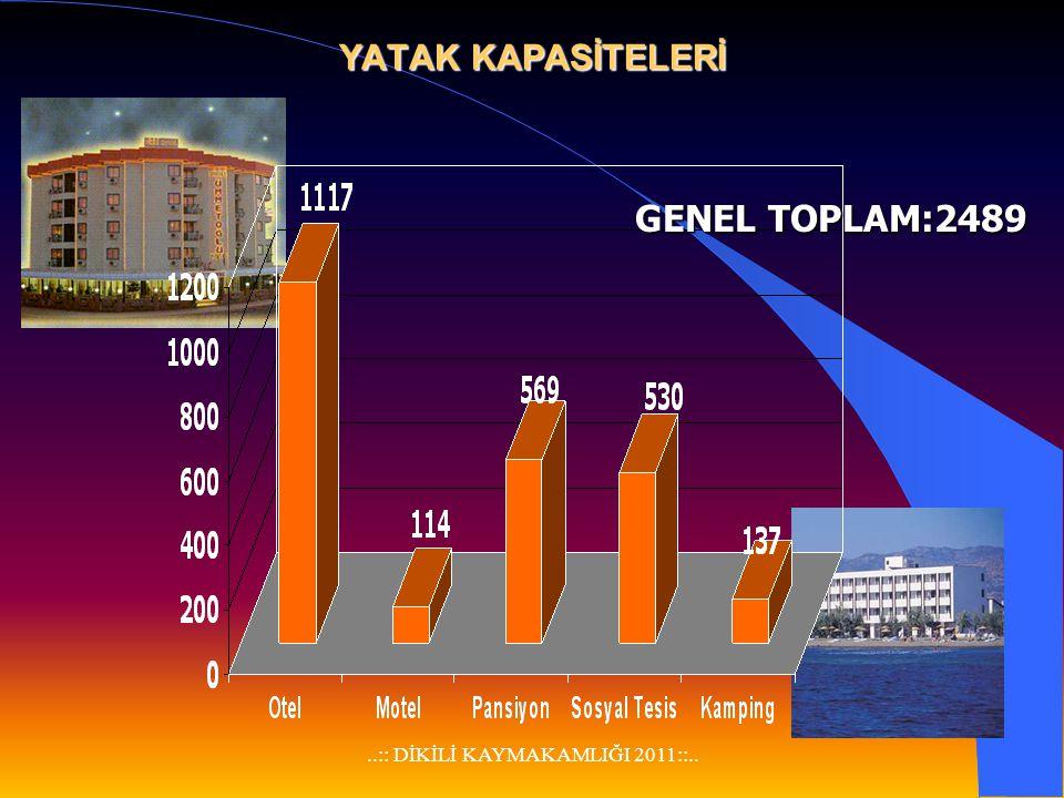 ..:: DİKİLİ KAYMAKAMLIĞI 2011::.. İlçemiz turizm yönünden potansiyeli geniş bir ilçe olup, 17 otel-motel, 2 kamping, 18 pansiyon ve 4 Sosyal Tesis bul