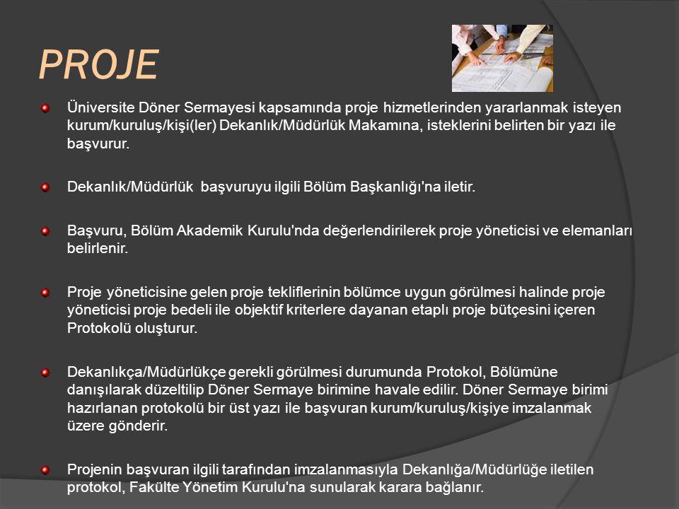 PROJE Üniversite Döner Sermayesi kapsamında proje hizmetlerinden yararlanmak isteyen kurum/kuruluş/kişi(ler) Dekanlık/Müdürlük Makamına, isteklerini belirten bir yazı ile başvurur.
