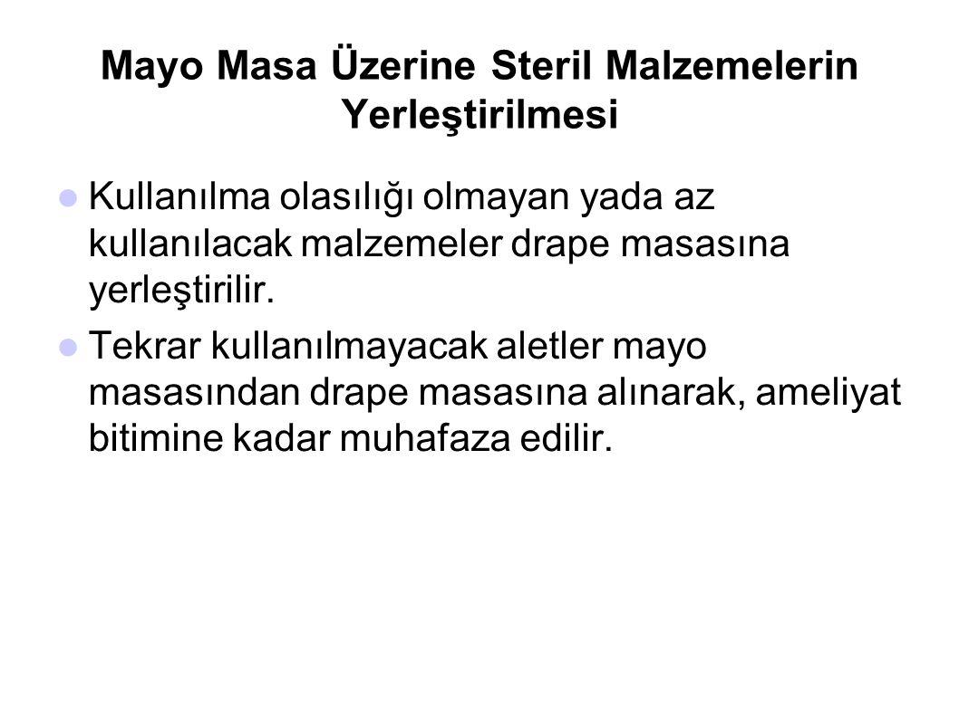 Mayo Masa Üzerine Steril Malzemelerin Yerleştirilmesi  Kullanılma olasılığı olmayan yada az kullanılacak malzemeler drape masasına yerleştirilir.  T