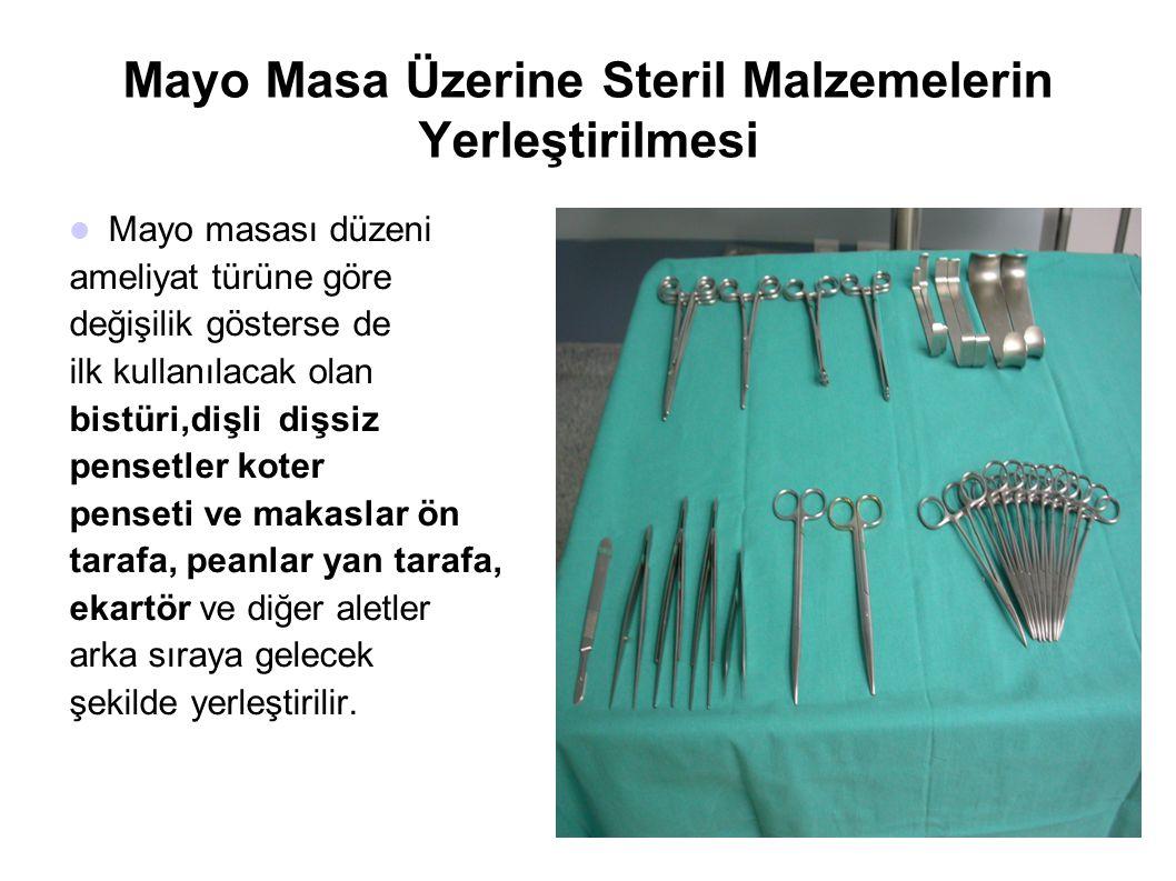 Mayo Masa Üzerine Steril Malzemelerin Yerleştirilmesi  Mayo masası düzeni ameliyat türüne göre değişilik gösterse de ilk kullanılacak olan bistüri,di