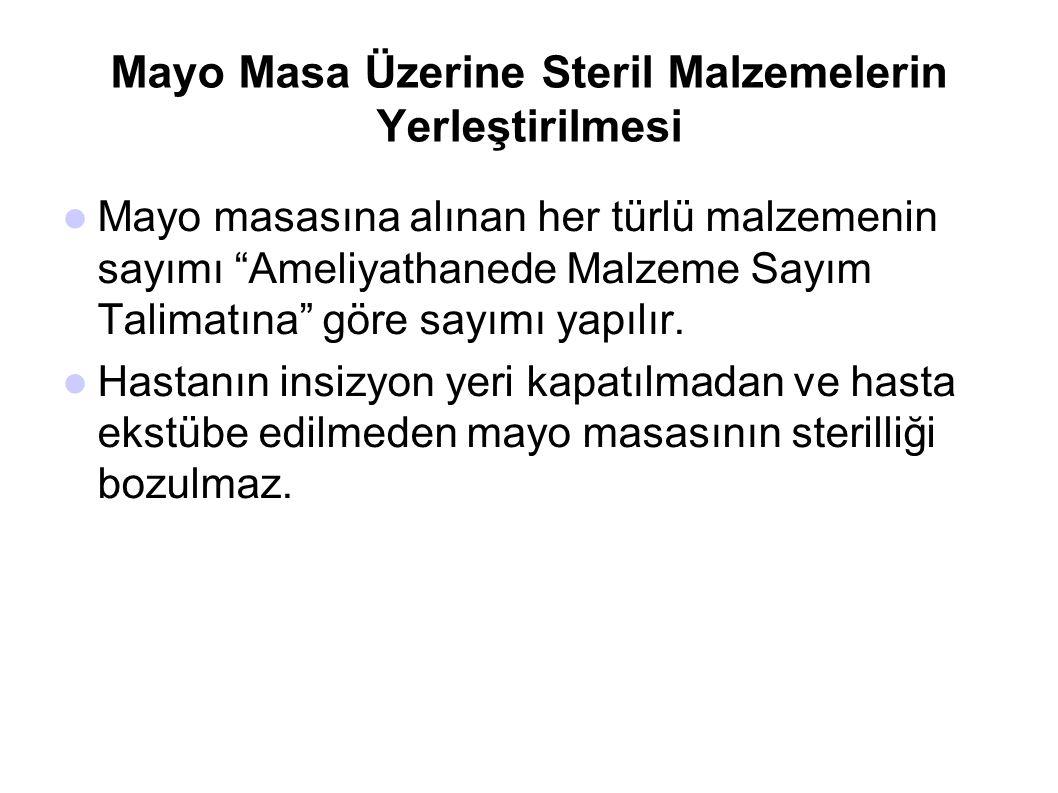 """Mayo Masa Üzerine Steril Malzemelerin Yerleştirilmesi  Mayo masasına alınan her türlü malzemenin sayımı """"Ameliyathanede Malzeme Sayım Talimatına"""" gör"""