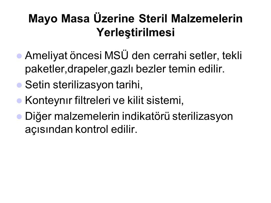 Mayo Masa Üzerine Steril Malzemelerin Yerleştirilmesi  Ameliyat öncesi MSÜ den cerrahi setler, tekli paketler,drapeler,gazlı bezler temin edilir.  S