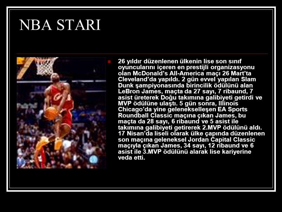 NBA STARI  26 yıldır düzenlenen ülkenin lise son sınıf oyuncularını içeren en prestijli organizasyonu olan McDonald's All-America maçı 26 Mart'ta Cleveland'da yapıldı.