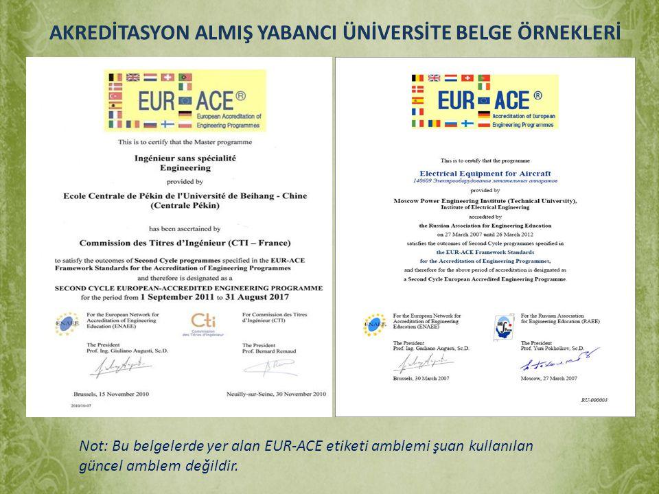 AKREDİTASYON ALMIŞ YABANCI ÜNİVERSİTE BELGE ÖRNEKLERİ Not: Bu belgelerde yer alan EUR-ACE etiketi amblemi şuan kullanılan güncel amblem değildir.