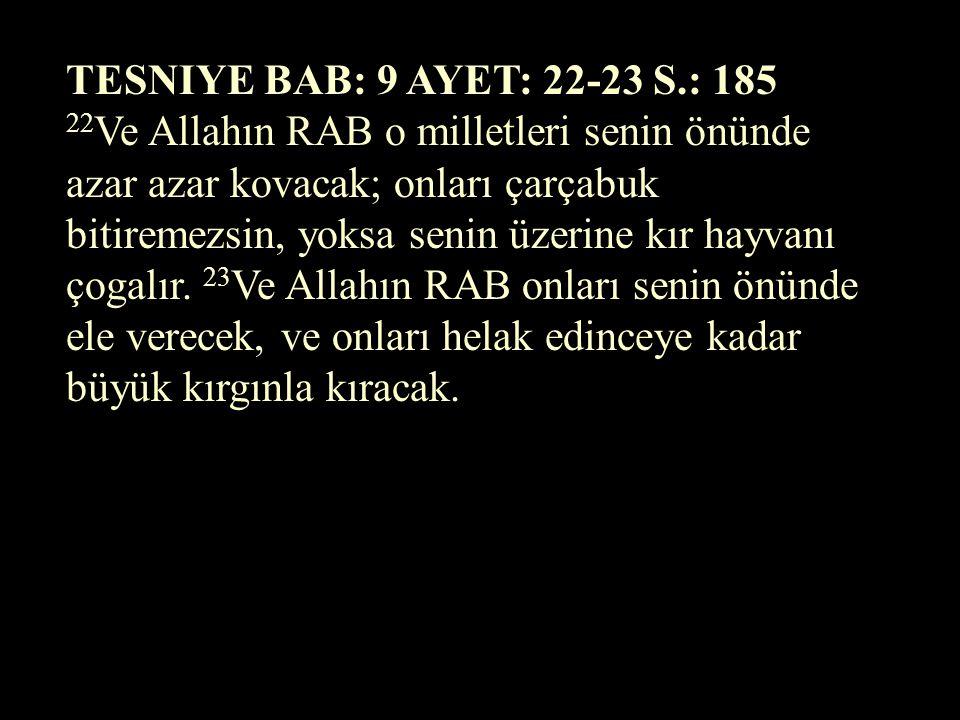 TSEFENYA BAB: 2 AYET: 5 S.: 887... Ey Kenan, Filistinliler diyarı, RABBİN sözü size karşıdır; seni yok edecegim, öyle ki artık sende oturan kimse olma