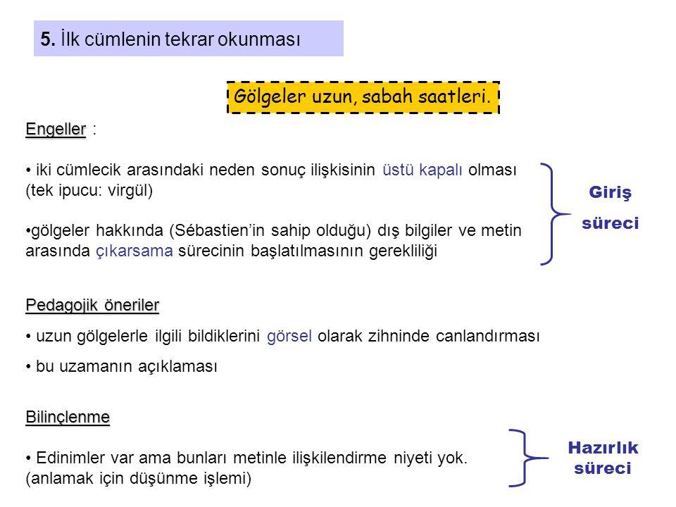 5. İlk cümlenin tekrar okunması Gölgeler uzun, sabah saatleri. Engeller Engeller : • iki cümlecik arasındaki neden sonuç ilişkisinin üstü kapalı olmas