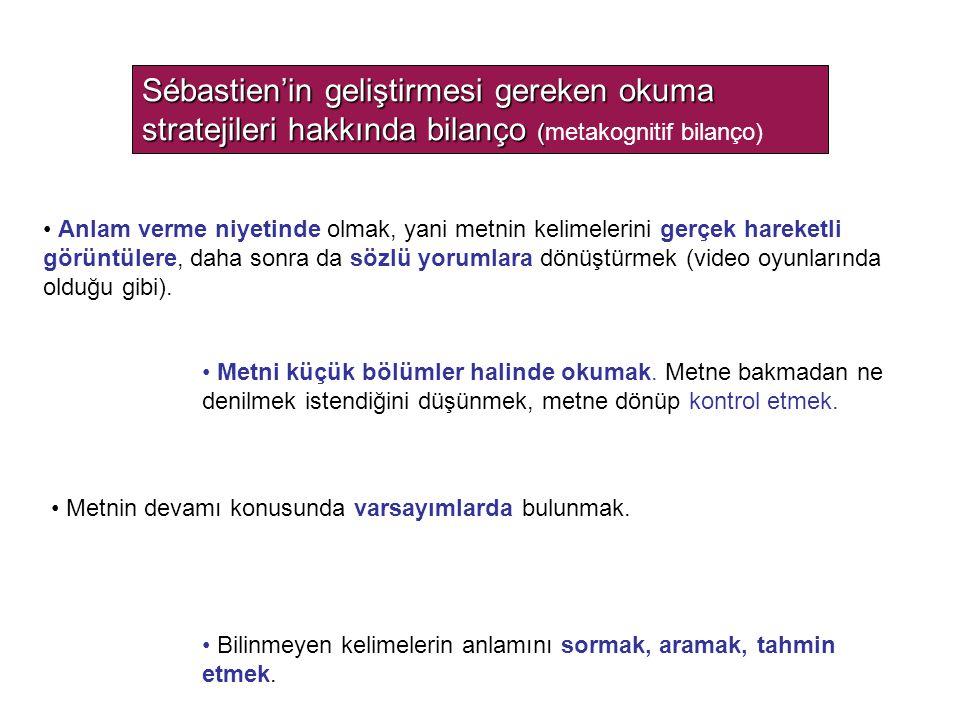 Sébastien'in geliştirmesi gereken okuma stratejileri hakkında bilanço ( Sébastien'in geliştirmesi gereken okuma stratejileri hakkında bilanço (metakog