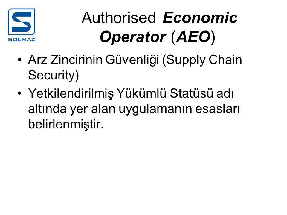 Authorised Economic Operator (AEO) •Arz Zincirinin Güvenliği (Supply Chain Security) •Yetkilendirilmiş Yükümlü Statüsü adı altında yer alan uygulamanın esasları belirlenmiştir.