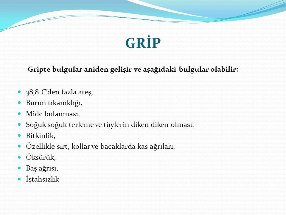 GRİP Gripte bulgular aniden gelişir ve aşağıdaki bulgular olabilir:  38,8 C'den fazla ateş,  Burun tıkanıklığı,  Mide bulanması,  Soğuk soğuk terleme ve tüylerin diken diken olması,  Bitkinlik,  Özellikle sırt, kollar ve bacaklarda kas ağrıları,  Öksürük,  Baş ağrısı,  İştahsızlık