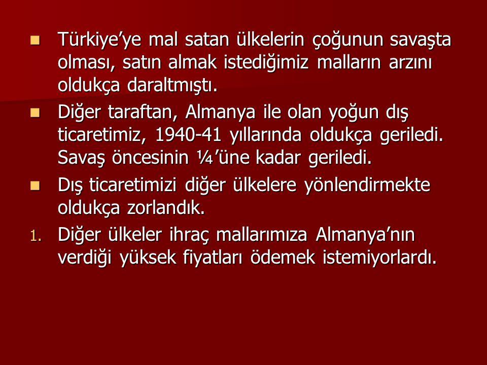  Türkiye'ye mal satan ülkelerin çoğunun savaşta olması, satın almak istediğimiz malların arzını oldukça daraltmıştı.  Diğer taraftan, Almanya ile ol