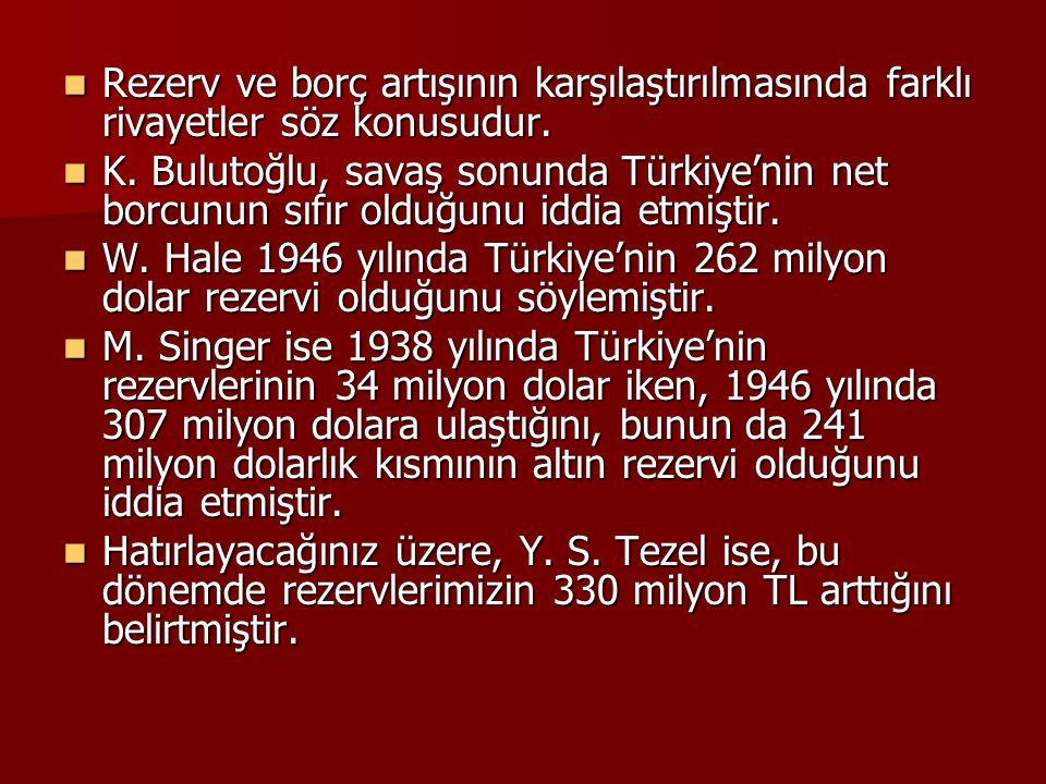  Rezerv ve borç artışının karşılaştırılmasında farklı rivayetler söz konusudur.  K. Bulutoğlu, savaş sonunda Türkiye'nin net borcunun sıfır olduğunu