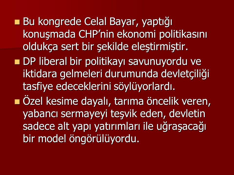  Bu kongrede Celal Bayar, yaptığı konuşmada CHP'nin ekonomi politikasını oldukça sert bir şekilde eleştirmiştir.  DP liberal bir politikayı savunuyo