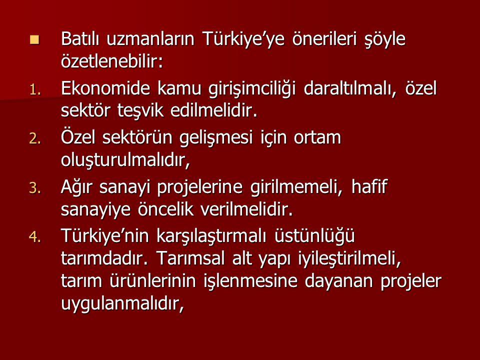  Batılı uzmanların Türkiye'ye önerileri şöyle özetlenebilir: 1. Ekonomide kamu girişimciliği daraltılmalı, özel sektör teşvik edilmelidir. 2. Özel se