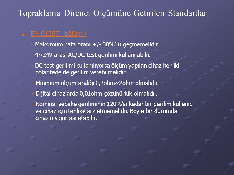 Topraklama Direnci Ölçümüne Getirilen Standartlar  EN 61557 bölüm4 - Maksimum hata oranı +/- 30%' u geçmemelidir. - 4~24V arası AC/DC test gerilimi k