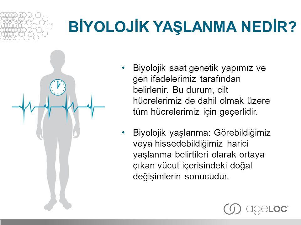 •Biyolojik saat genetik yapımız ve gen ifadelerimiz tarafından belirlenir. Bu durum, cilt hücrelerimiz de dahil olmak üzere tüm hücrelerimiz için geçe