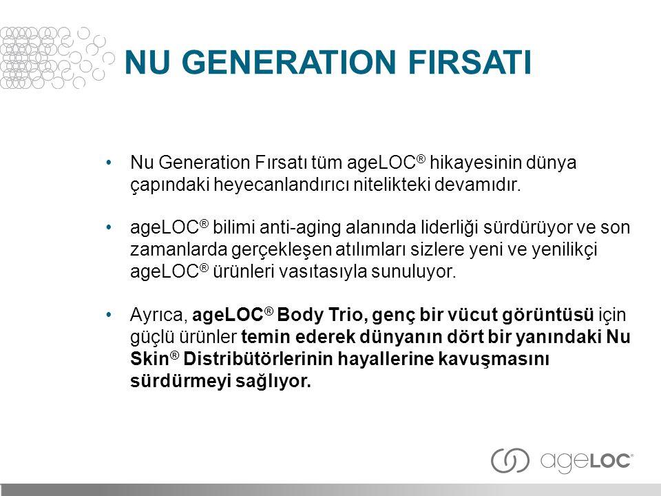 NU GENERATION FIRSATI •Nu Generation Fırsatı tüm ageLOC ® hikayesinin dünya çapındaki heyecanlandırıcı nitelikteki devamıdır. •ageLOC ® bilimi anti-ag