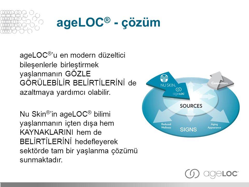 ageLOC ® 'u en modern düzeltici bileşenlerle birleştirmek yaşlanmanın GÖZLE GÖRÜLEBİLİR BELİRTİLERİNİ de azaltmaya yardımcı olabilir. Nu Skin ® 'in ag