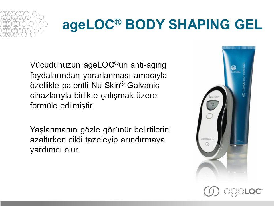 Vücudunuzun ageLOC ® un anti-aging faydalarından yararlanması amacıyla özellikle patentli Nu Skin ® Galvanic cihazlarıyla birlikte çalışmak üzere form