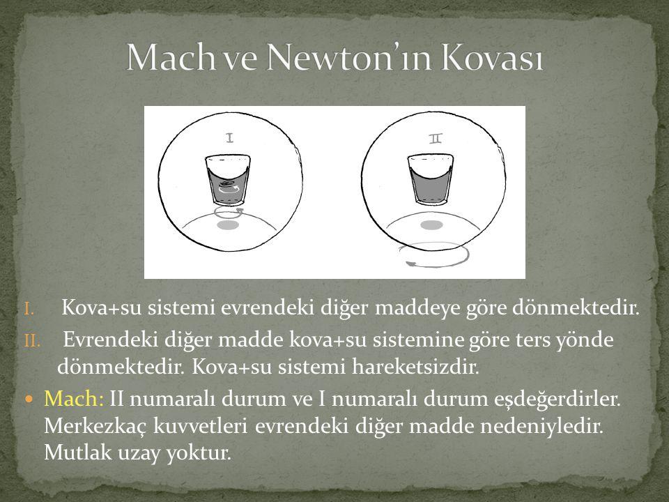 I. Kova+su sistemi evrendeki diğer maddeye göre dönmektedir. II. Evrendeki diğer madde kova+su sistemine göre ters yönde dönmektedir. Kova+su sistemi