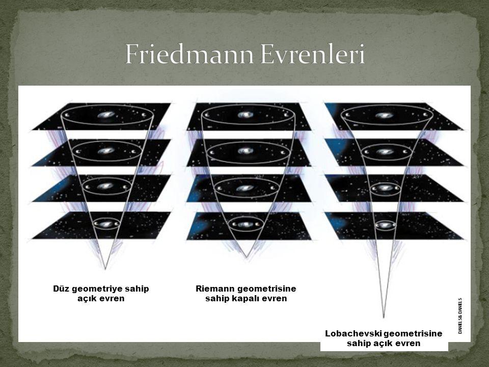 Düz geometriye sahip açık evren Riemann geometrisine sahip kapalı evren Lobachevski geometrisine sahip açık evren