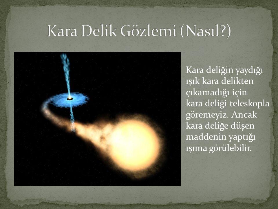 Kara deliğin yaydığı ışık kara delikten çıkamadığı için kara deliği teleskopla göremeyiz. Ancak kara deliğe düşen maddenin yaptığı ışıma görülebilir.