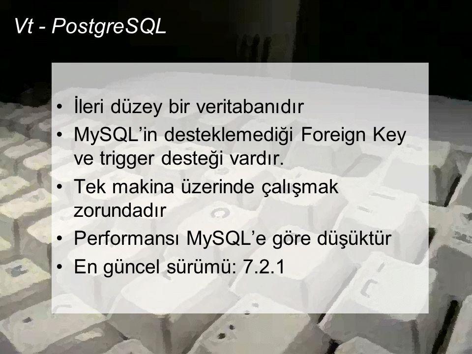 Vt - PostgreSQL •İleri düzey bir veritabanıdır •MySQL'in desteklemediği Foreign Key ve trigger desteği vardır. •Tek makina üzerinde çalışmak zorundadı