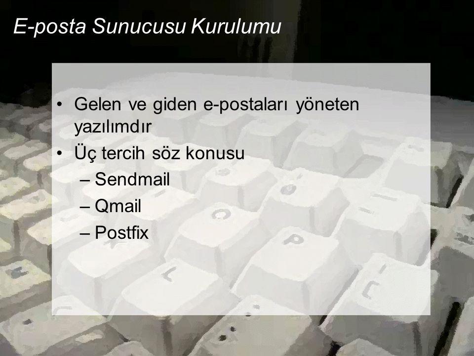 E-posta Sunucusu Kurulumu •Gelen ve giden e-postaları yöneten yazılımdır •Üç tercih söz konusu –Sendmail –Qmail –Postfix