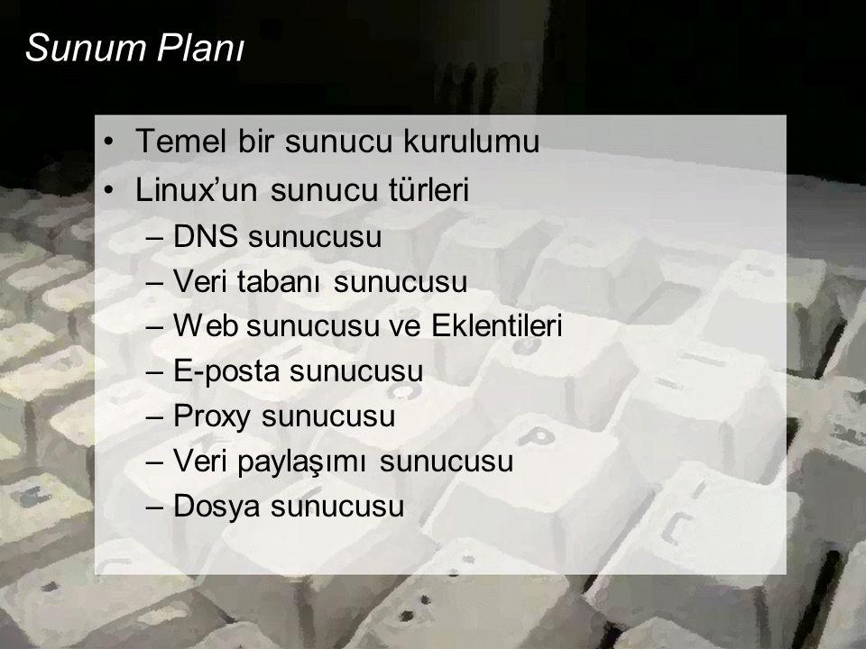 Sunum Planı •Temel bir sunucu kurulumu •Linux'un sunucu türleri –DNS sunucusu –Veri tabanı sunucusu –Web sunucusu ve Eklentileri –E-posta sunucusu –Pr