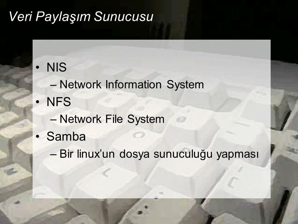 Veri Paylaşım Sunucusu •NIS –Network Information System •NFS –Network File System •Samba –Bir linux'un dosya sunuculuğu yapması