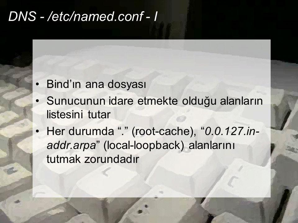 """DNS - /etc/named.conf - I •Bind'ın ana dosyası •Sunucunun idare etmekte olduğu alanların listesini tutar •Her durumda """"."""" (root-cache), """"0.0.127.in- a"""